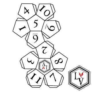Dado de doce caras o D12 dodecaedro regular papercraft estilo Ludoteca Virtual