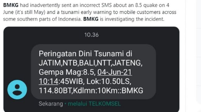 Heboh SMS Blast 'Warning' Tsunami Gempa Magnitudo 8.5 Pada 4 Juni di Jatim