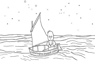 Sea sailing tiny boat art picture In the night garden coloring for beginners easy kids drawing ideas