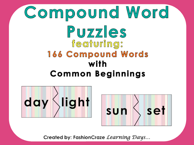 Compound Word Puzzles | Fashion Craze Learning Days