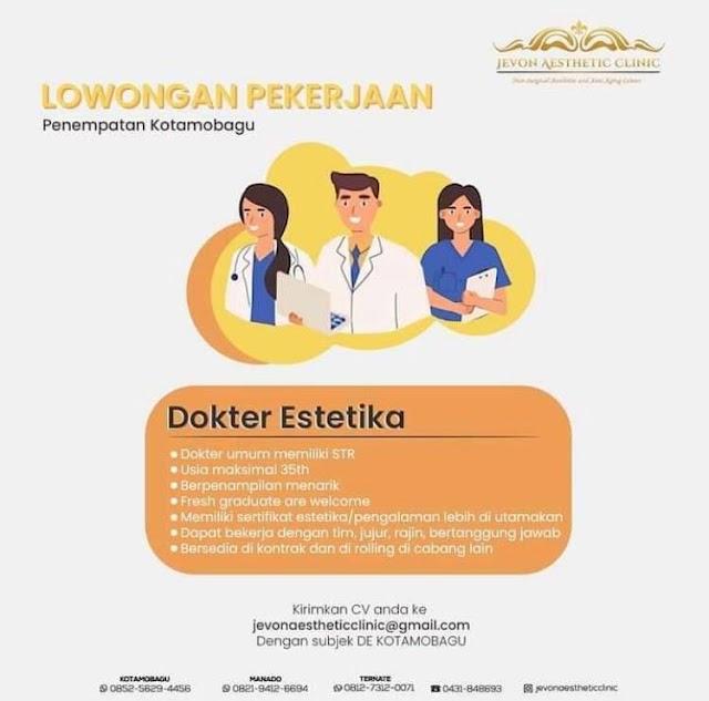 Loker Dokter JEVON AESTHETIC CLINIC Penempatan Kotamobagu