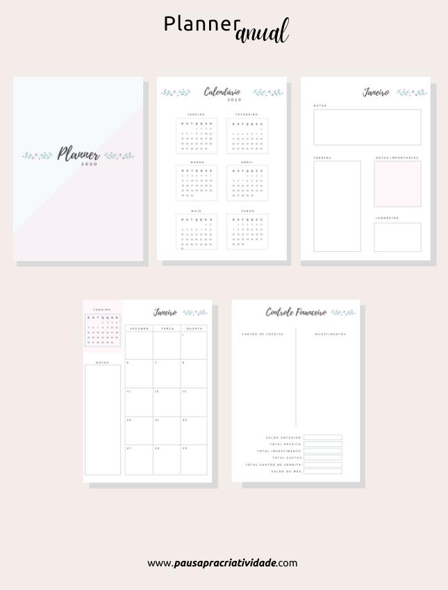 18 modelos de planners 2021 - Financeiro, Mensal, Anual e Diário