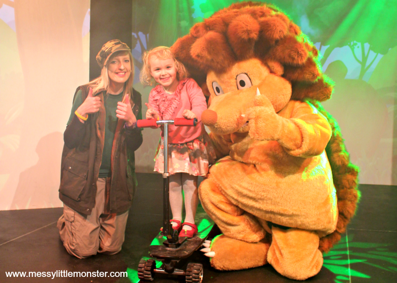 Bluestone Wales Review - woody wild character show meeting huwie hedgehog
