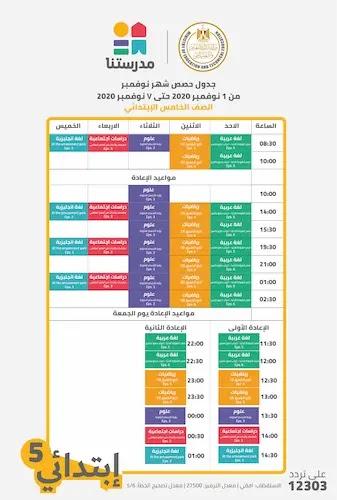 جدول حصص قناة مدرستنا للصف الخامس الابتدائى