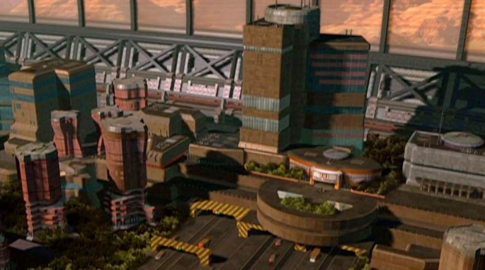 Brutalist Mars Dome One interior architecture in Babylon 5 TV series