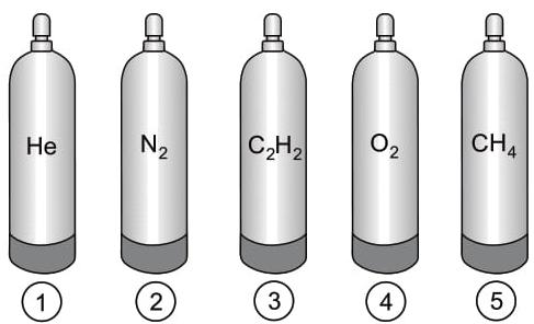 A imagem mostra cilindros de mesma capacidade, cada um com gás de uma substância diferente