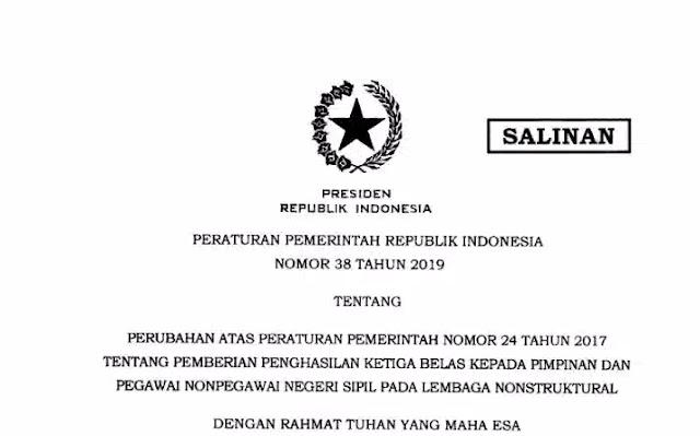 Tentang Perubahan atas Peraturan Pemerintah Nomor  K13 :  PP Nomor 38 Tahun 2019 Tentang Pemberian Penghasilan Ke 13