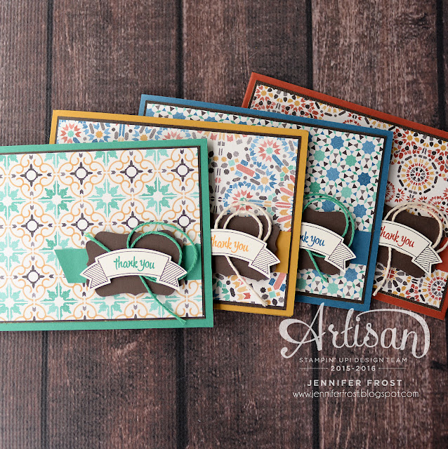 Moroccan Designer Series Papers, Thoughtful Banners, Decorative label punch, Set of cards, Artisan Design Team, Stampin' Up!, Papercraft by Jennifer Frost