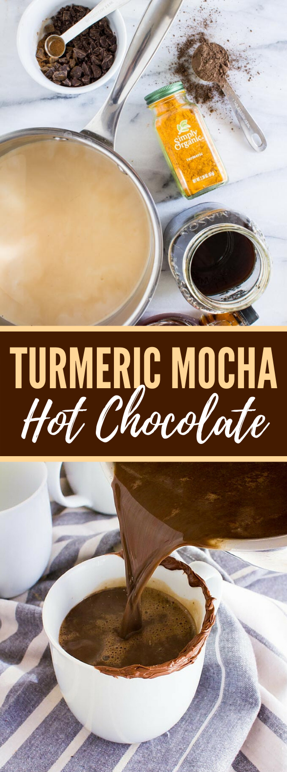 Turmeric Mocha Hot Chocolate #drinks #desserts