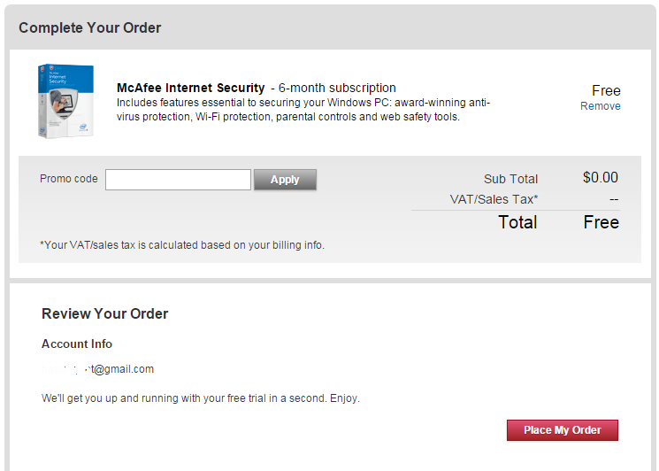 Give free product key  McAfee Internet Security 180 days - update daily