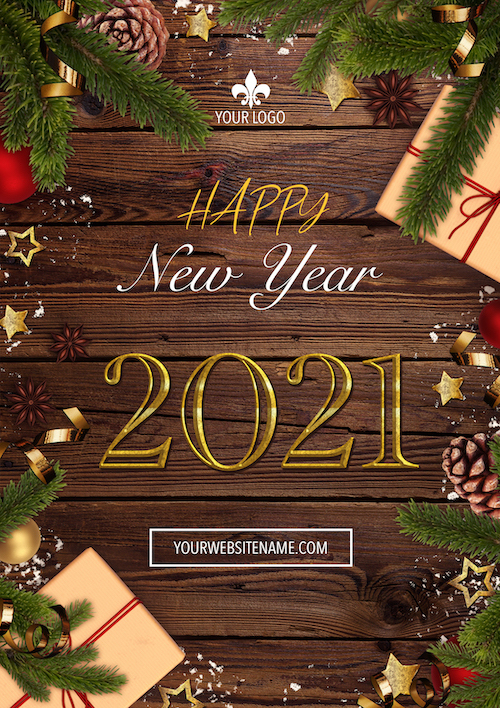 A4 New year flyer on wooden background