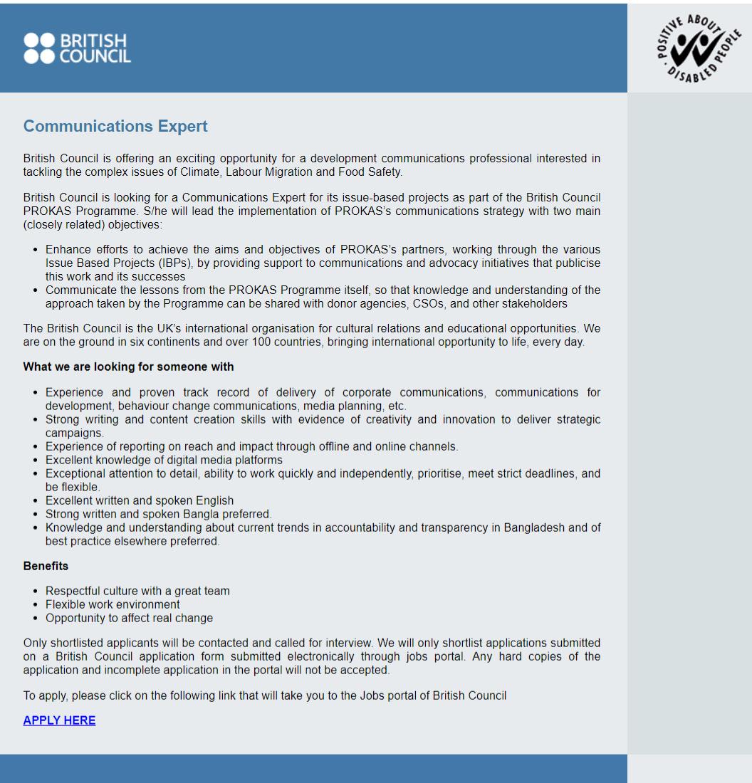 British Council Job Circular 2020