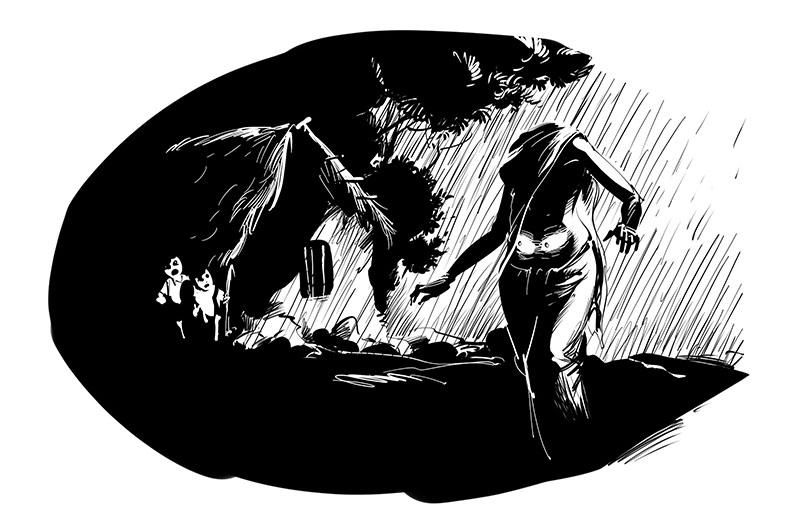 horror story dark illustration headless corpse in village