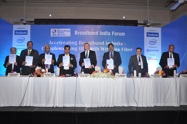 Launching the White Paper on The Key to Affordable Broadband in India Mr TV Ramachandran second from the left and J S Deepak third from