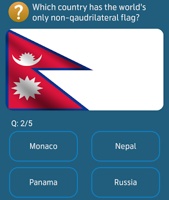 Which country has the world's only non-qaudrilateral flag?