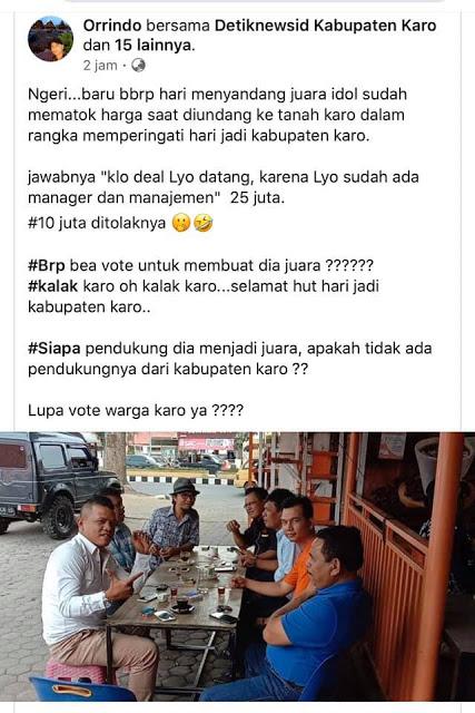 Dibayar 10 juta, Lyodra Ginting Tolak Hadir HUT Kabupaten Karo?