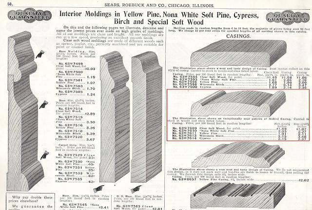 black and white rendering of 1915 doorway trim from Sears