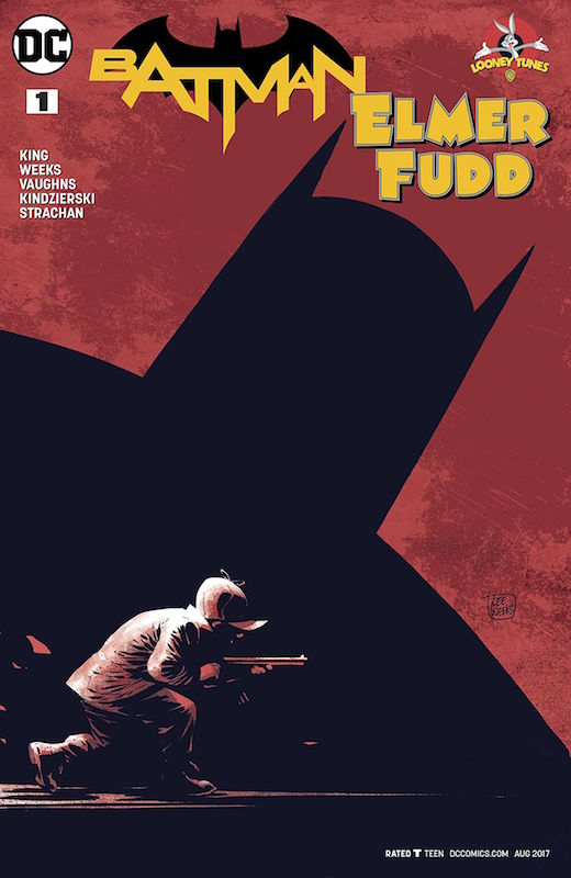 "Batman/Elmer Fudd #1 ""Pway for Me"" Story: Tom King Art: Lee Weeks Colors: Lovern Kindierski Letters: Deron Bennett Variant: Bob Fingerman  ""Rabbit Season"" Story: Tom King Art: Byron Vaughns Colors: Carrie Strachan Letters: Deron Bennett  Batman created by Bob Kane and Bill Finger. Elmer Fudd created by Tex Avery & Chuck Jones. Bugs Bunny created by Ben Hardaway, Cal Dalton, Tex Avery."
