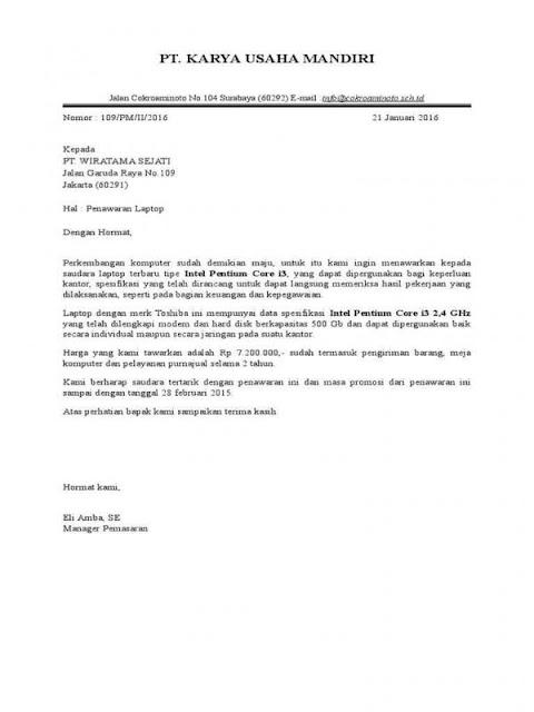 Contoh Surat Penawaran Barang Elektronik (via: lezgetreal.com)