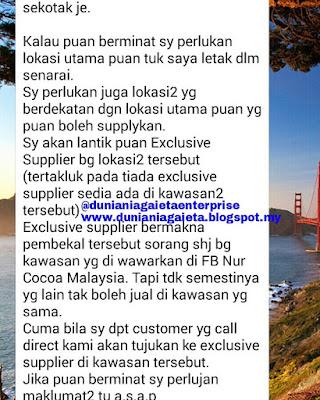 Nur Cocoa : KoKo Pra Campur Madu dan Kurma, inangan sebagai Exclusive Supplier.