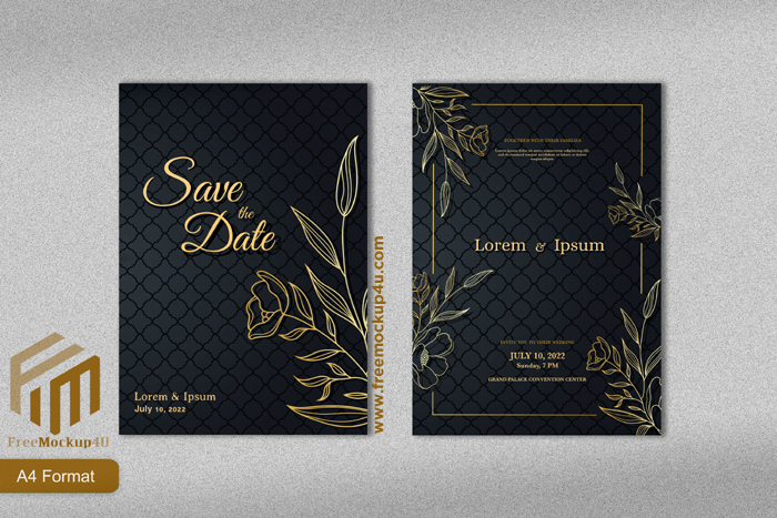 Luxury Wedding Invitation Template With Gold Line Art Flower Background