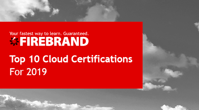 Firebrand's logo over a cloud image with the title Top 10 Cloud Certifications of 2019