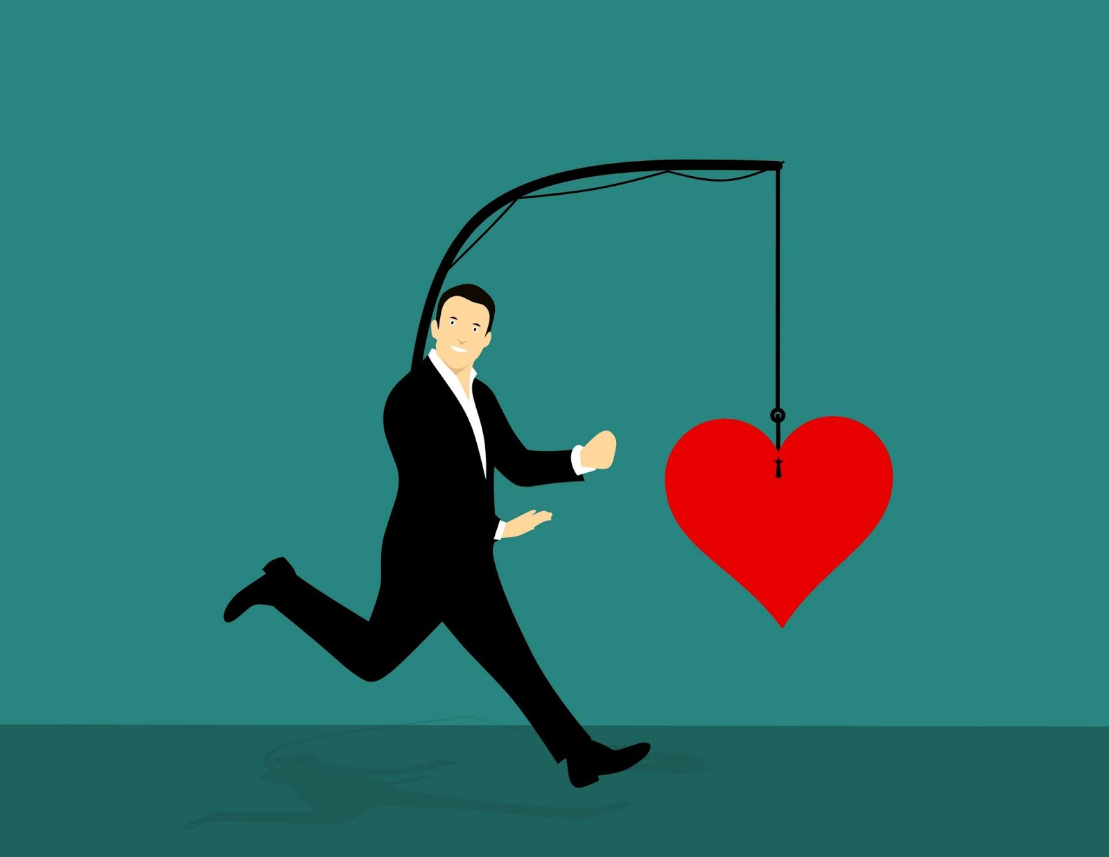 Illustration of man following his heart
