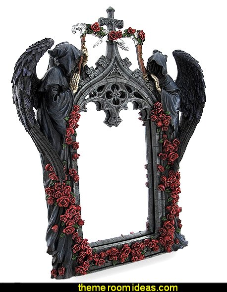 Gothic Grim Reapers and Roses Sculptural Archway Framed Mirror
