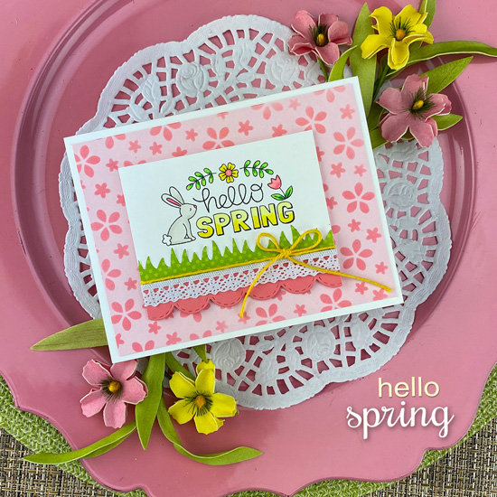 Hello Spring Card by Jennifer Jackson | Hello Spring Stamp Set and Petite Flowers Stencil by Newton's Nook Designs #newtonsnook #handmade