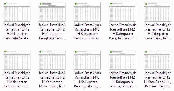 Kumpulan Jadwal Imsakiyah Ramadhan 1442 H Seluruh Kabupaten/Kota di Provinsi Bengkulu