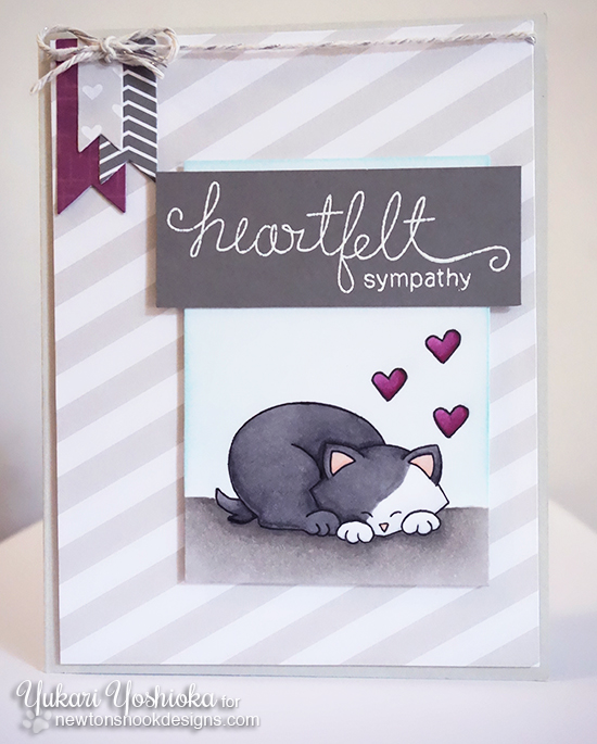 Heartfelt Sympathy card by Yukari Yoshioka | Cat stamp and word stamps by Newton's Nook Designs
