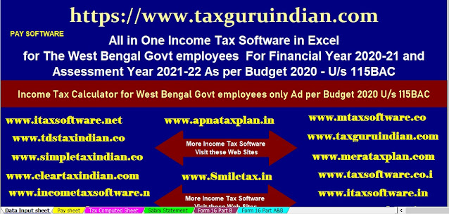 Income Tax Calculator All in One for the W.B.Govt Employees for the F.Y.2020-21