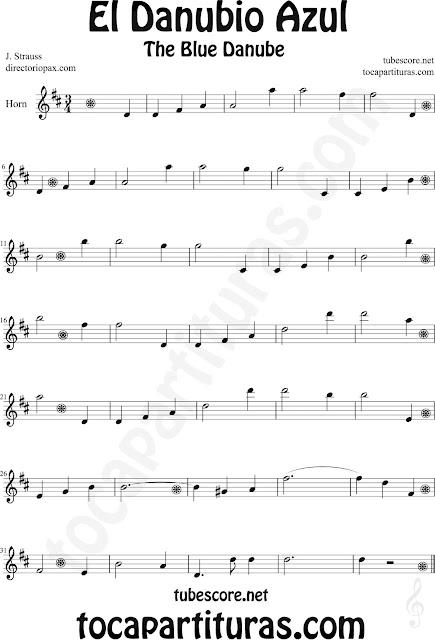 Partitura de El Danubio Azul para Cornos y Trompa de Johann Strauss The Blue Danube Sheet Music for Horn Classical music