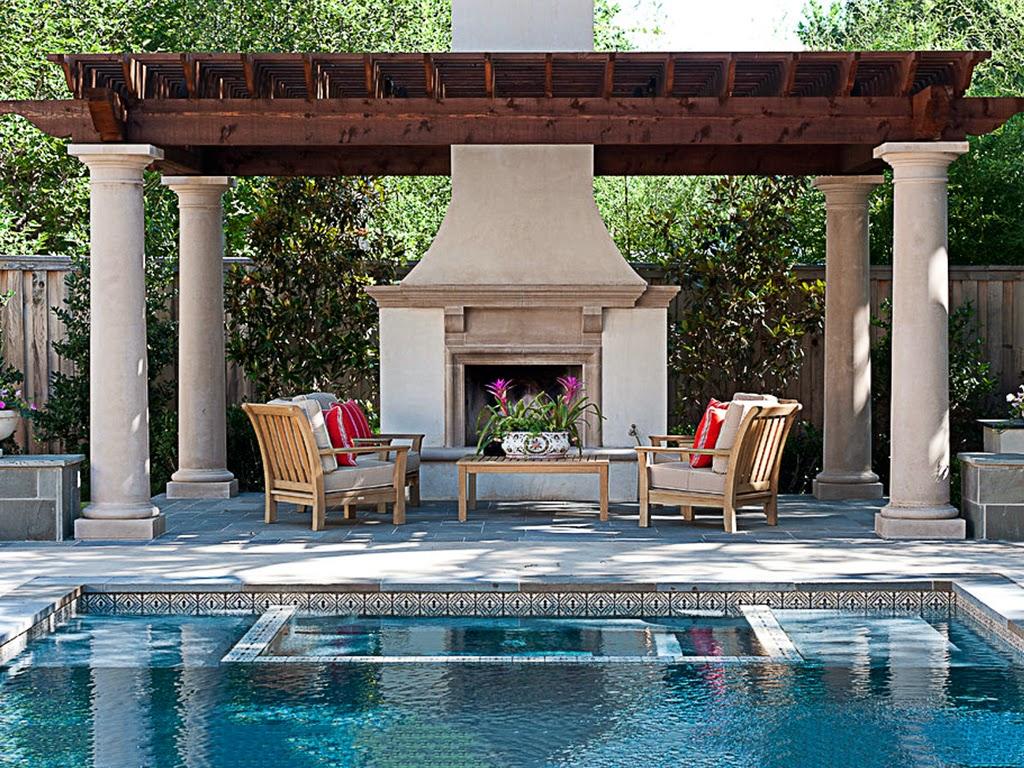 pergole din lemn cu coloane decorative din polistiren pentru piscina
