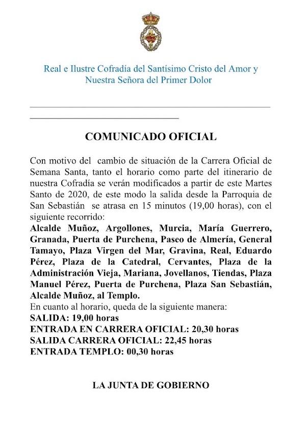 La Hermandad del Amor de Almería anuncia itinerario para el 2020