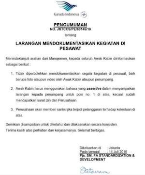 Sindiran Untuk Garuda Indonesia yang Melarang Berfoto di Pesawat