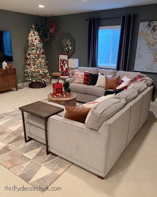 Dark gray walls Christmas family room