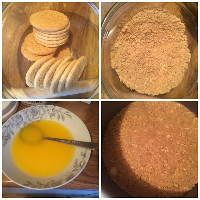 Photographs of the steps for making the biscuit base of the Cream Egg Cheesecake