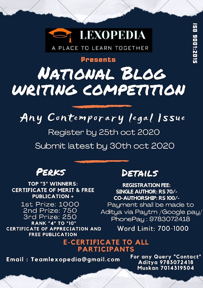 National Blog Writing Competition organized by Lexopedia