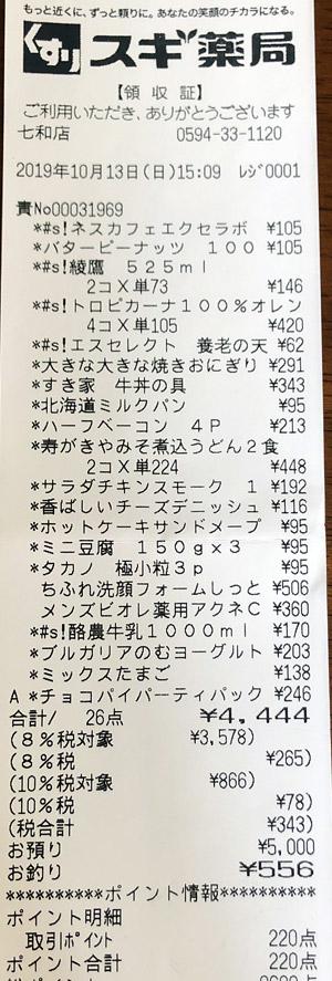 スギ薬局 七和店 2019/10/13 のレシート
