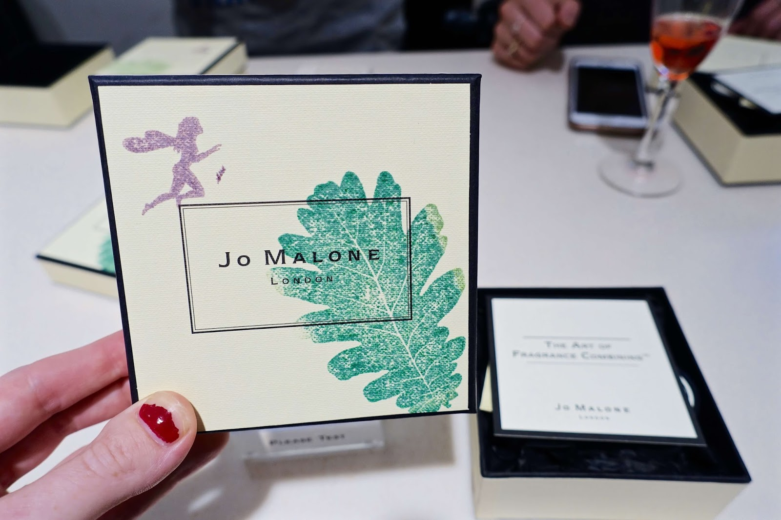 Leaf stamping our own Jo Malone gift boxes