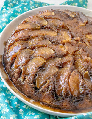 whole upside down caramel apple skillet cake