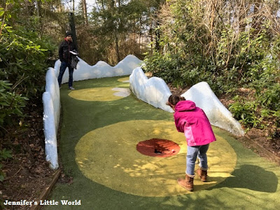 Playing Mini Golf at Center Parcs Erperheide