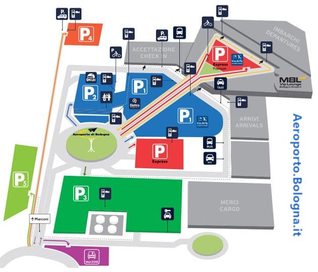 Mappa parcheggi aeroporto Bologna