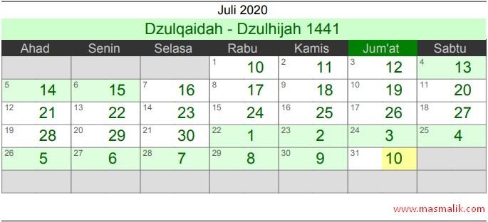 Kalender Islam Tahun 2020, Juli