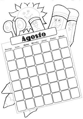 Calendario Dibujo Blanco Y Negro.Calendario Mes De Agosto Para Completar Y Colorear Colorea