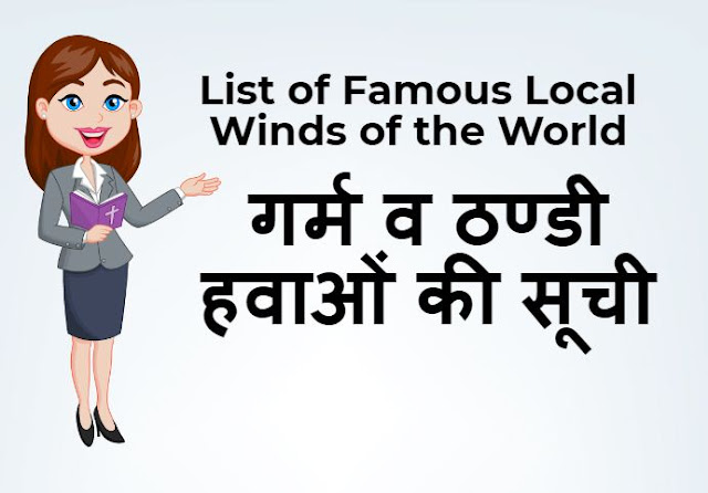 गर्म व ठण्‍डी हवाओं की सूची -  List of Famous Local Winds of the World