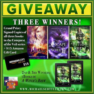 A Witch's Brew tour giveaway graphic. Prizes to be awarded precede this image in the post text.