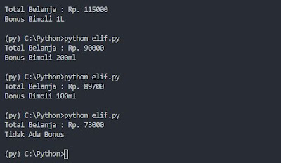 Output Percabangan ELIF Python