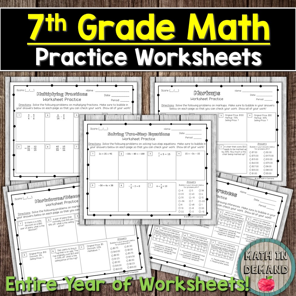 7th Grade Math Practice Worksheets - Entire Year of Math Concepts [ 960 x 960 Pixel ]